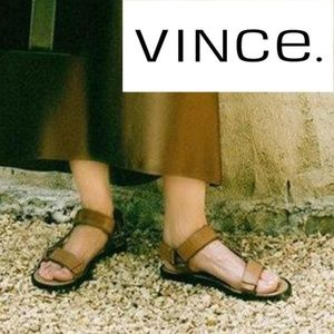 VINCE Flats Sandals Brown Leather Size US 6